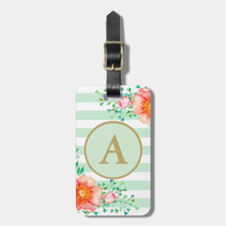 Watercolor Floral Gold Monogram Mint White Stripe Luggage Tag