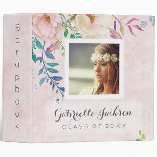 Watercolor Floral Graduation Scrapbook Photo Album 3 Ring Binders