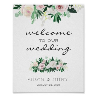 Watercolor Floral Green Welcome Wedding Poster