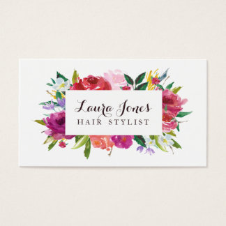 Watercolor Floral Hair Stylist Appointment Cards