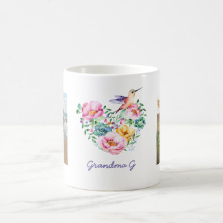 Watercolor Floral Heart Hummingbird Photo Gift Coffee Mug