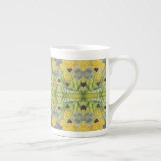 Watercolor Floral Heart Print Tea Cup
