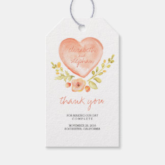 Watercolor Floral Heart Romantic Wedding Gift Tags