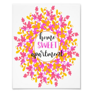 Watercolor Floral Home Sweet Apartment Wall Art Photo Print