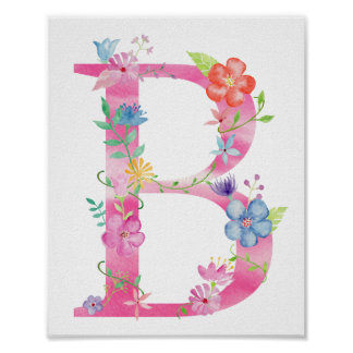 Watercolor Floral Letter B Poster