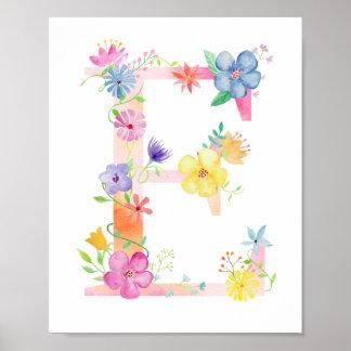 Watercolor Floral Letter E Poster