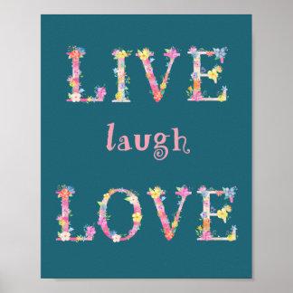 Watercolor Floral Letter Live Laugh Love Poster