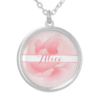Watercolor Floral Light Pink Peony Silver Plated Necklace