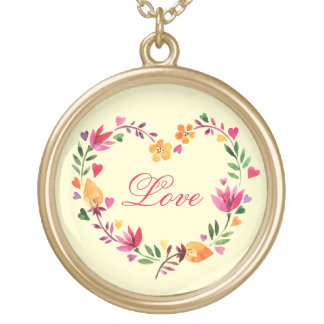 Watercolor Floral Love Heart Wreath Gold Plated Necklace