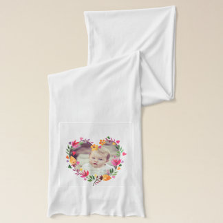 Watercolor Floral Love Hearts Wreath Photo Scarf