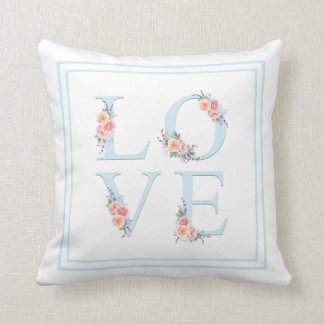Watercolor Floral Love in Bloom Typography Throw Pillow