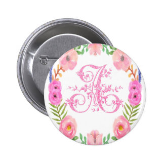 Watercolor Floral Monogram Letter A 2 Inch Round Button