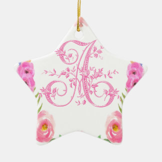 Watercolor Floral Monogram Letter A Ceramic Star Ornament
