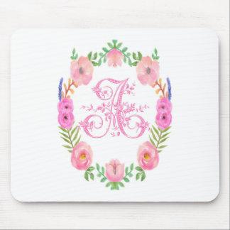 Watercolor Floral Monogram Letter A Mouse Pad