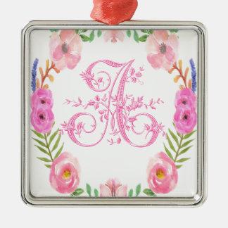 Watercolor Floral Monogram Letter A Silver-Colored Square Ornament