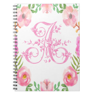 Watercolor Floral Monogram Letter A Spiral Notebook