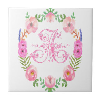 Watercolor Floral Monogram Letter A Tiles
