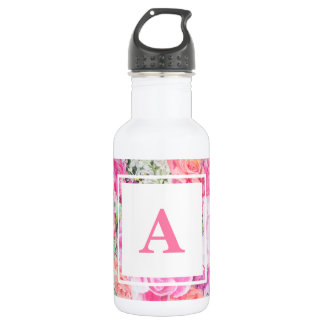 Watercolor Floral Monogram Water Bottle