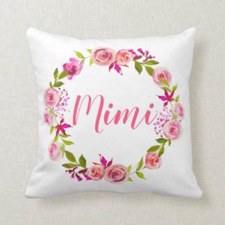 Watercolor Floral Mother's Day Photo Gift for Mimi Throw Pillow