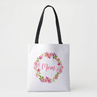 Watercolor Floral Mother's Day Photo Gift for Mom Tote Bag