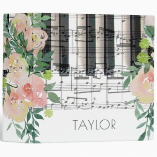 watercolor floral music piano keyboard notes vinyl binders
