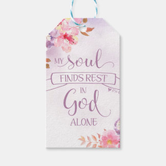 Watercolor Floral, My Soul Finds Rest - Ps 62:1 Gift Tags