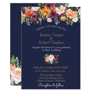 Watercolor Floral Navy Blue Wedding Invitation