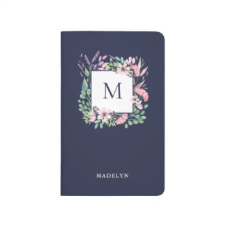 Watercolor Floral on Midnight Blue | Monogram Journal