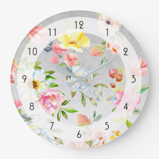Watercolor Floral on Silver Artisan Background Large Clock