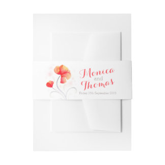 Watercolor floral orange wedding custom belly band invitation belly band