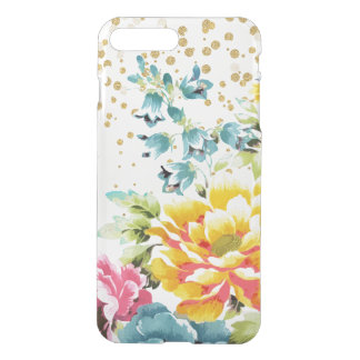 watercolor floral paint and gold confetti artwork. iPhone 8 plus/7 plus case