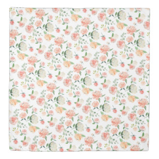 Watercolor Floral Pattern in Peach Duvet Cover