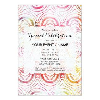 Watercolor floral pattern mandala handdrawn custom card