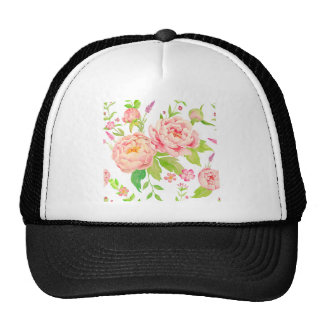 Watercolor floral pattern pink peony trucker hat