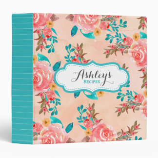 Watercolor Floral Pattern Recipe Aqua Peach Flower Binders