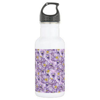 Watercolor floral pattern with violet pansies 532 ml water bottle