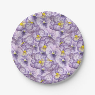Watercolor floral pattern with violet pansies 7 inch paper plate