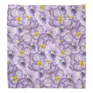 Watercolor floral pattern with violet pansies bandana