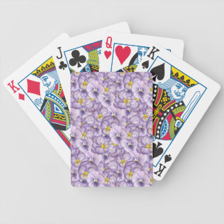 Watercolor floral pattern with violet pansies bicycle playing cards