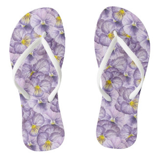 Watercolor floral pattern with violet pansies flip flops