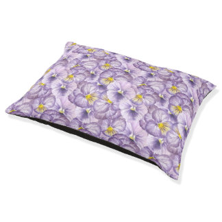 Watercolor floral pattern with violet pansies large dog bed