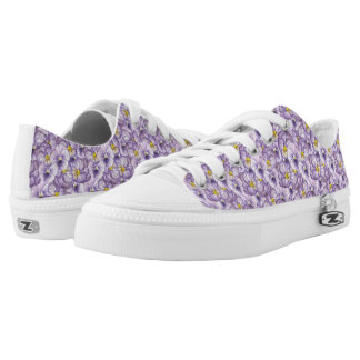 Watercolor floral pattern with violet pansies Low-Top sneakers