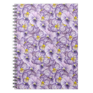 Watercolor floral pattern with violet pansies notebooks