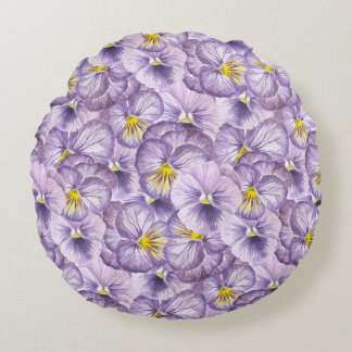 Watercolor floral pattern with violet pansies round pillow