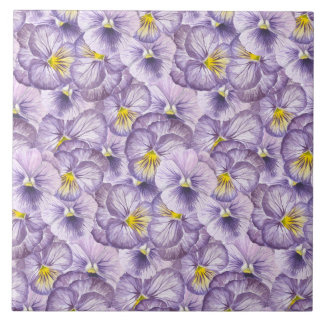 Watercolor floral pattern with violet pansies tile