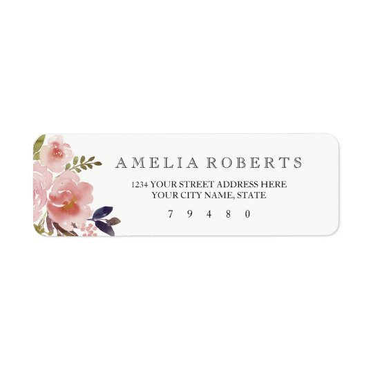 Watercolor Floral Peonies Return Address Label