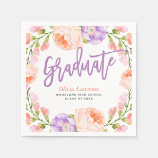 Watercolor Floral Personalized Graduation Party Napkin