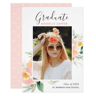 Watercolor Floral Photo Graduation Announcement