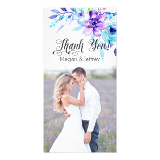 Watercolor floral photo thank you notes photo card template
