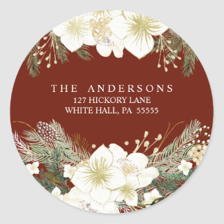 Watercolor Floral Pines Christmas Holiday Address Classic Round Sticker